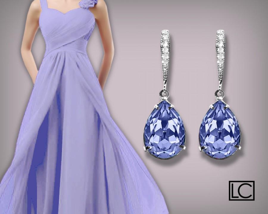 Provence Lavender Crystal Earrings Swarovski Silver
