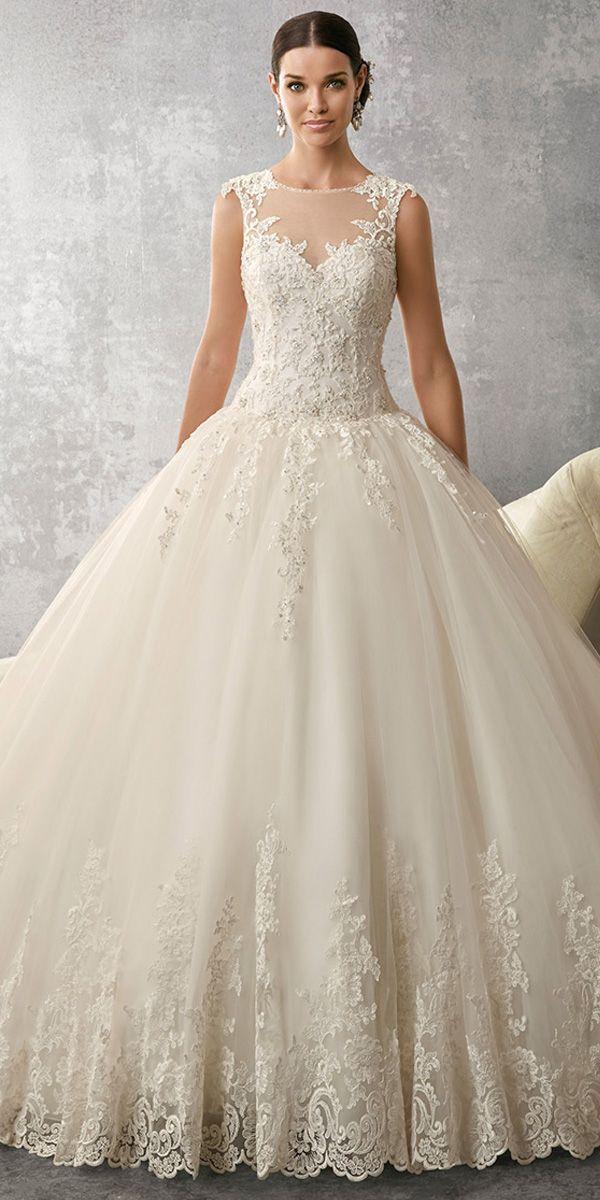 زفاف - Marvelous Tulle Jewel Neckline Ball Gown Wedding Dress With Beadings & Lace Appliques