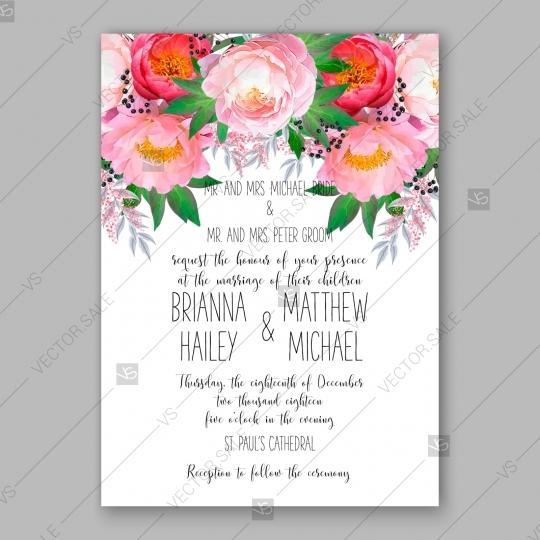 Wedding - Peony Wedding Invitation watercolor decoration bouquet