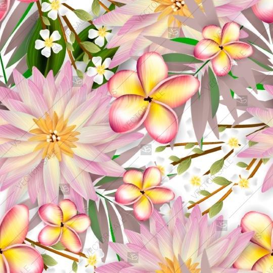 Wedding - Dahlias, plumeria seamless pattern