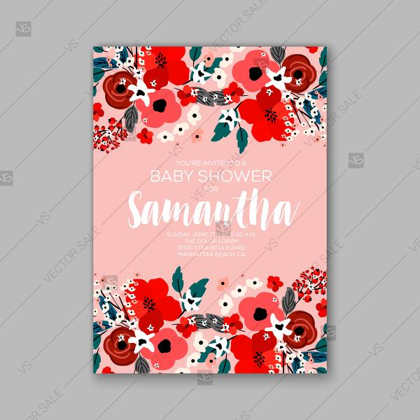 Wedding - Floral Red Poppy Baby Shower Invitations Christening vector template