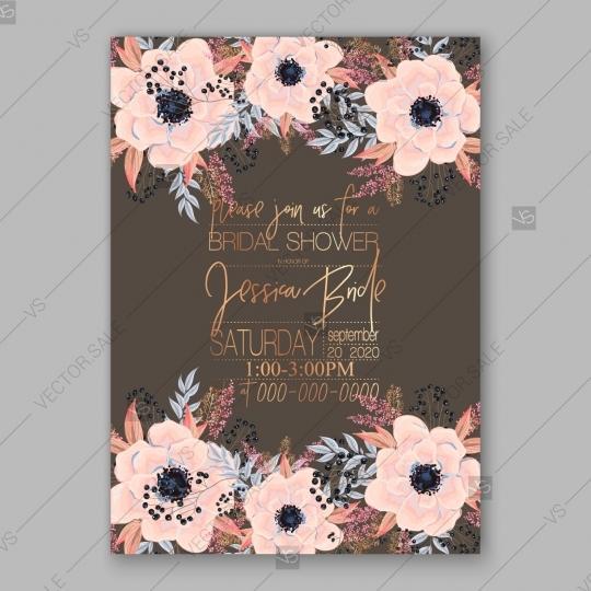 Mariage - Anemone wedding invitation card printable template botanical illustration