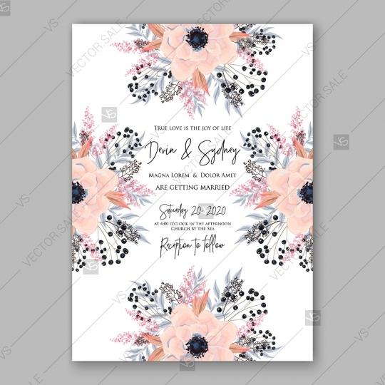 Mariage - Gentle anemone wedding invitation card printable template spring