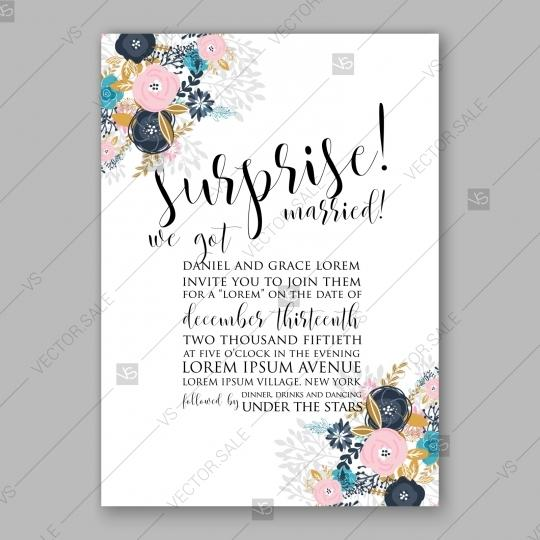 Hochzeit - Pink blue rose, peony wedding invitation card floral illustration