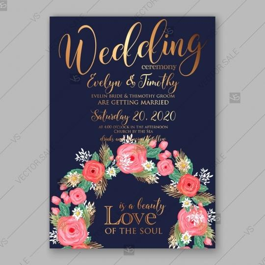 Wedding - Pink rose, peony wedding invitation card dark blue background invitation template