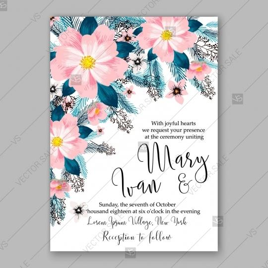 Wedding - Pink Peony wedding invitation template design banquet