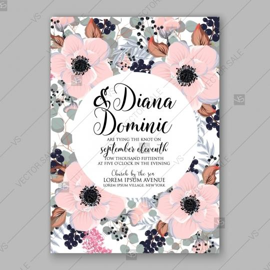 Mariage - Anemone wedding invitation card printable template custom invitation