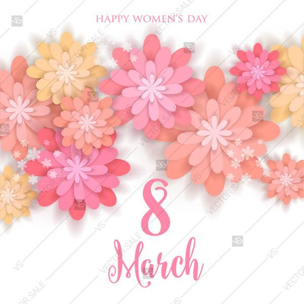 Mariage - Camomile anemone sakura rose dahlia 3d paper flower 8 March greeting card international womens day party