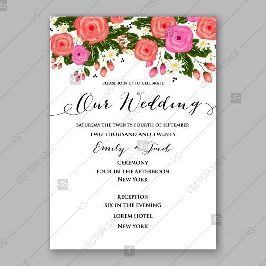 Pink Rose Peony Wedding Invitation Card Romantic Floral