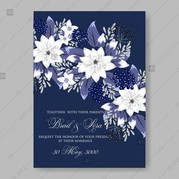 5 Blue Floral Wedding Invitation Card Vector Material: White Flowers Of Chrysanthemum Anemones On A Dark Blue