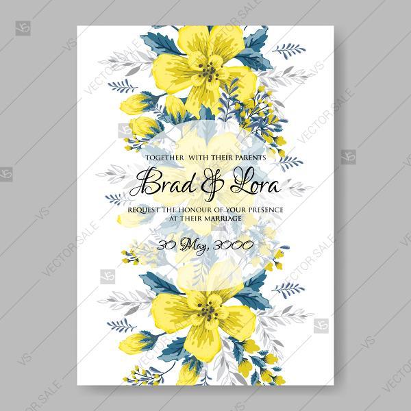 Hochzeit - Yellow sunflower wedding invitation vector template floral illustration