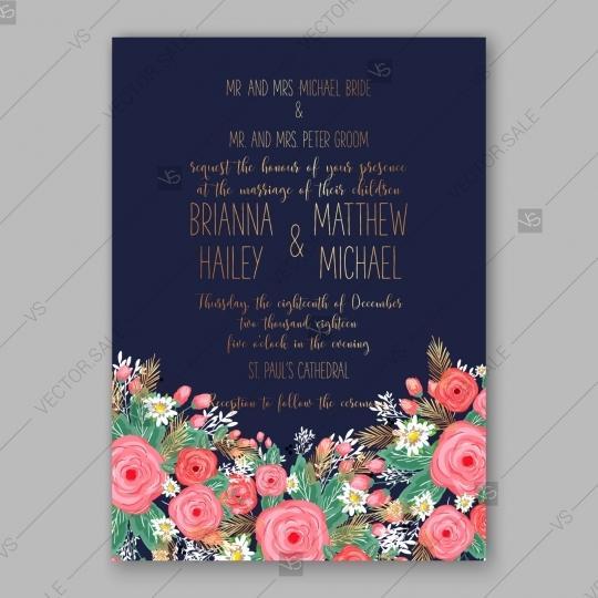 Pink Rose Peony Wedding Invitation Card Dark Blue