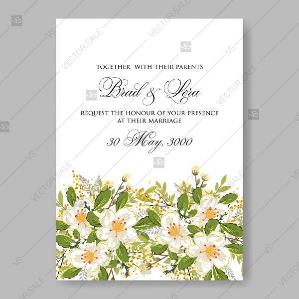Wedding - Jasmine sakura anemone wedding invitation bridal shower invitation decoration bouquet