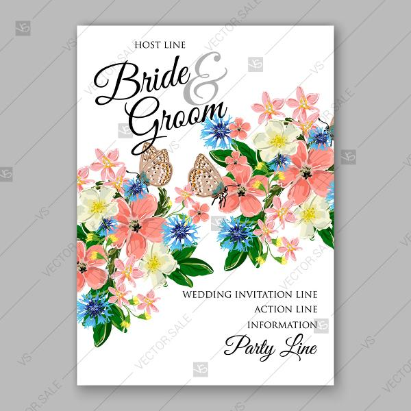 Wedding Floral Wreath Invitation Template Printable Card Vector ...