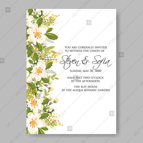 Wedding - Jasmine sakura anemone wedding invitation bridal shower invitation baby shower invitation