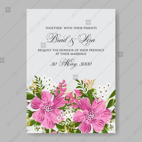 Floral wedding invitation vector card template pink anemone flower floral wedding invitation vector card template pink anemone flower clip art thank you card stopboris Images