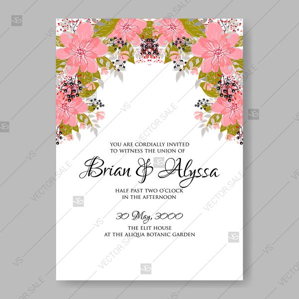 rouge personalised wedding invitations vector pink spring floral