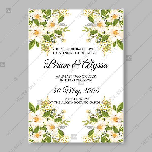 Свадьба - Jasmine sakura anemone wedding invitation bridal shower invitation