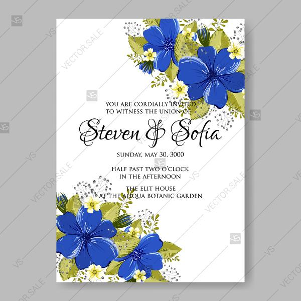 Wedding - Blue beautiful anemone wedding invitation vector card template floral illustration birthday card