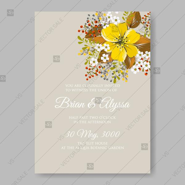 Yellow anemone sunflower autumn floral wedding invitation vector yellow anemone sunflower autumn floral wedding invitation vector template mothers day card stopboris Images