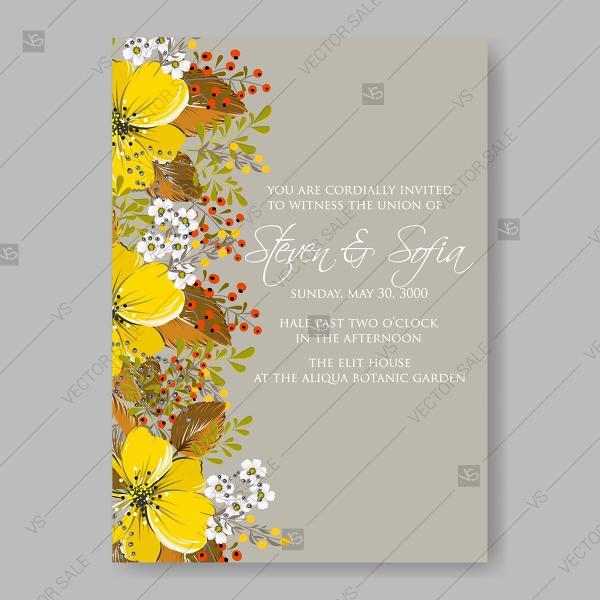 Yellow Anemone Sunflower Autumn Floral Wedding Invitation Vector