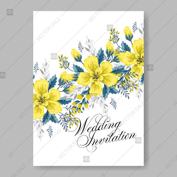 Yellow sunflower wedding invitation vector template anniversary yellow sunflower wedding invitation vector template anniversary invitation stopboris Image collections