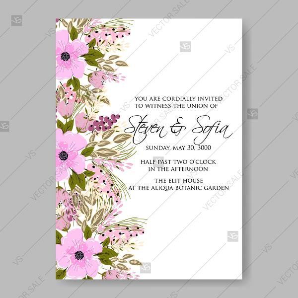 Peach Pink Flowers Floral Wedding Background For Invitation