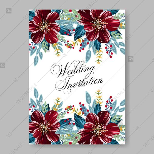 Wedding Invitation Burgundy Red Peony Anemone Floral Vector