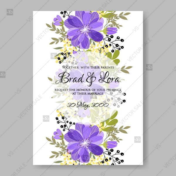 Wedding - Purple anemone clip art wedding invitation bridal shower flowers floral illustration