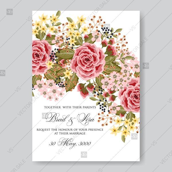 Ranunculus Rose Red Pink Peony Wedding Invitation Vector