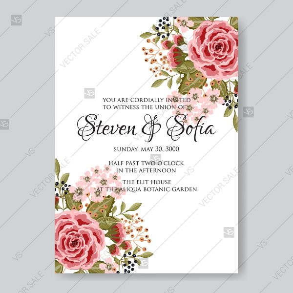 Wedding - Ranunculus rose red pink peony wedding invitation vector printable card template vector template