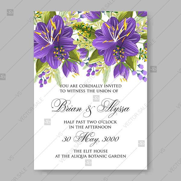 Wedding Invitation Violet Hibiscus Floral Vector Printable Card