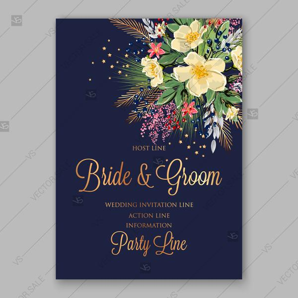 Свадьба - Spring floral bouquet Wedding invitation vector anemone on dark blue background