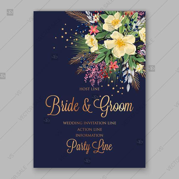 Wedding - Spring floral bouquet Wedding invitation vector anemone on dark blue background