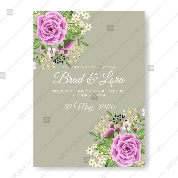 Свадьба - Ranunculus rose purple peony wedding invitation vector template romantic invitation