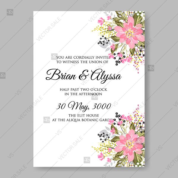 Mariage - Sakura pink cherry blossom flowers japan wedding invitation vector template marriage invitation