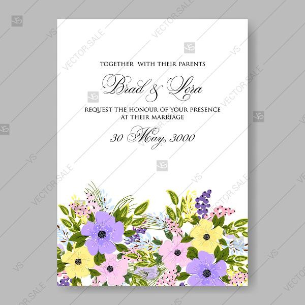 Wedding - Fine flowers yellow violet pink anemone wedding invitation vector cards decoration bouquet
