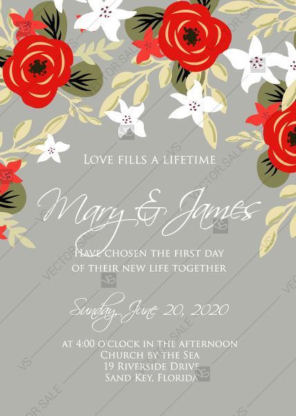 blue anemone vector wedding invitation printable template be my