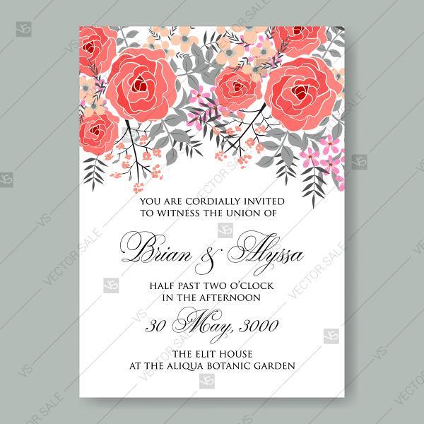 Mariage - Floral red rose ranunculus anemone wedding invitation invitation template