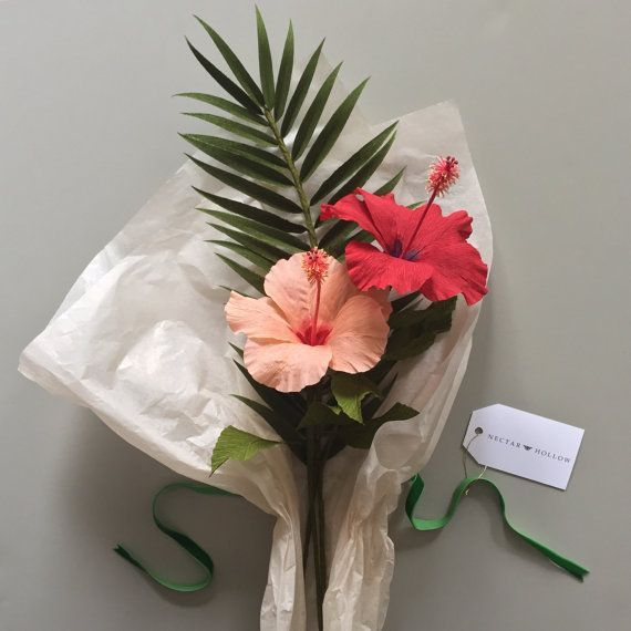 Crepe Paper Tropical Bouquet Hibiscus And Palm Frond Paper