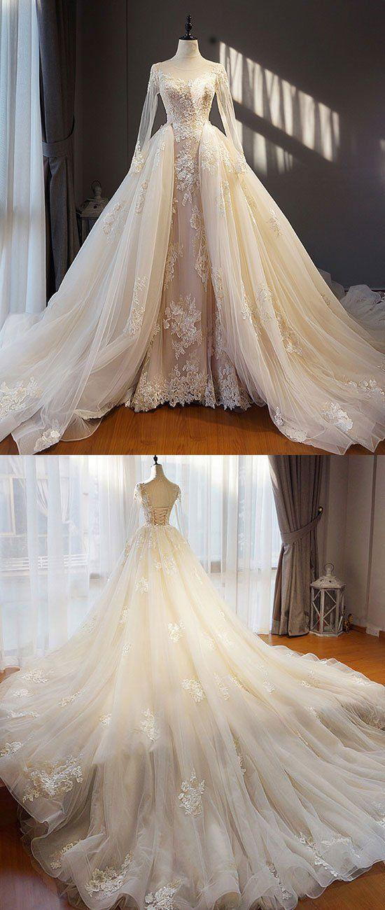 Свадьба - Unique Champagne Tulle Lace Long Prom Dress, Champagne Wedding Dress