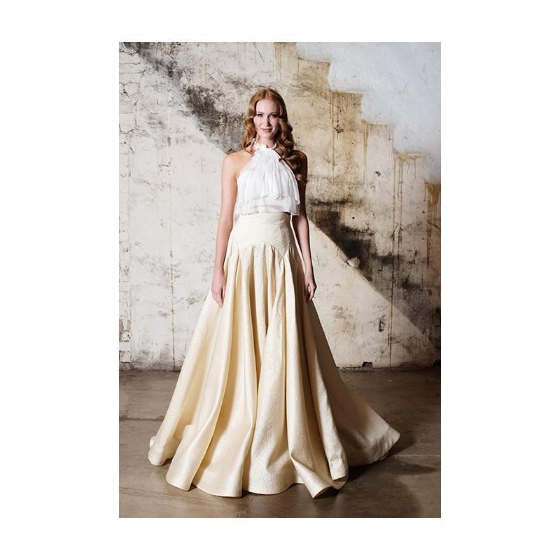 Hochzeit - Tara LaTour - Fall 2015 - Laudee Sleeveless Cropped Lace Ruffle Halter Top Dropped Waist Panel Ballgown Wedding Dress - Stunning Cheap Wedding Dresses