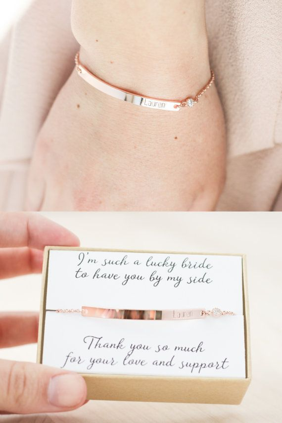 Hochzeit - Bridesmaid Bracelet - Rose Gold Bridesmaid Jewelry - Bridesmaid Jewelry Rose Gold - Rose Gold Bridesmaid Bracelet - Name Bracelet