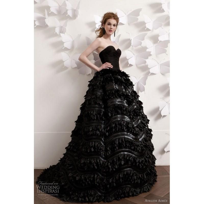Atelier Aimee 2013 Black Strapless Wedding Dress Ball Gown
