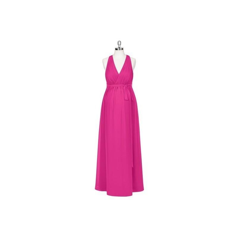 Hochzeit - Fuchsia Azazie Athena - Back Zip Stretch Knit Chiffon Halter Floor Length - Charming Bridesmaids Store