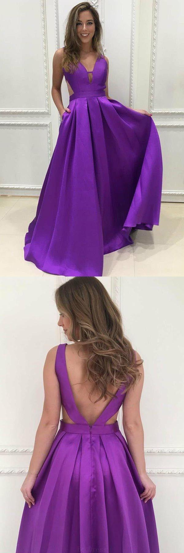 Hochzeit - Discount Outstanding Prom Dresses Simple Simple V-Neck Sweep Train Grape Satin Prom Dresses Evening Dresses