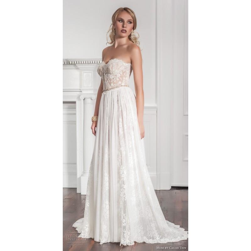Wedding - Muse by Callie Tein 2017 Garland Ivory Sweet Sweep Train Sleeveless with Sash Fall Lace Sweetheart Aline Bridal Dress - Bridesmaid Dress Online Shop