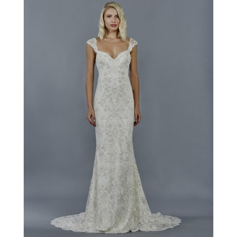 Mariage - Kelly Faetanini Fall/Winter 2018 KALINDA Sweet Sheath Ivory Sweep Train Square Cap Sleeves Beading Lace Bridal Dress - Rich Your Wedding Day