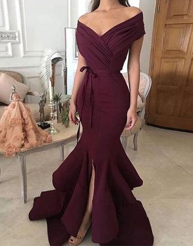 Wedding - Simple Off Shoulder Long Prom Dress, Evening Dresses,PD12010
