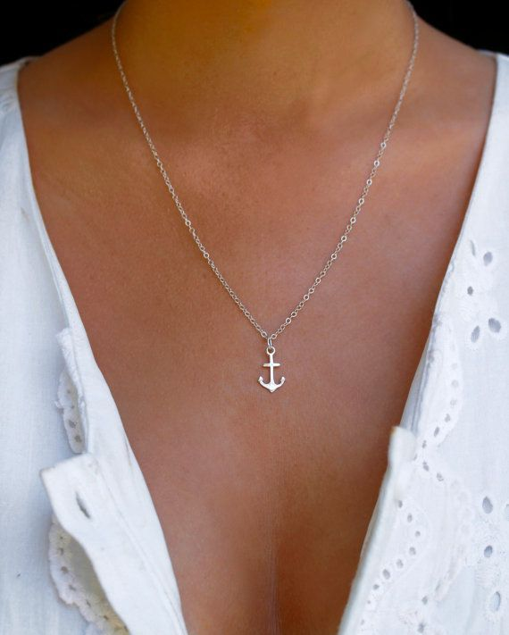 Mariage - Sterling Silver Anchor Necklace, Minimalist Anchor Jewelry, Travel Inspired Jewelry, Tiny Silver Anchor, Sterling Silver Nautical Necklace